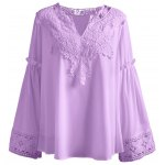 Plus Size Lace Spliced Crochet Blouse
