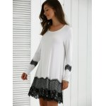 Long Sleeve Lace Splicing Comfy Dress deal