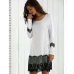 cheap Long Sleeve Lace Splicing Comfy Dress