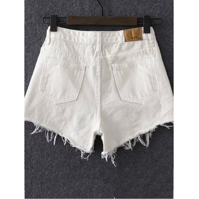 Stylish Solid Color Ripped Shorts For Women