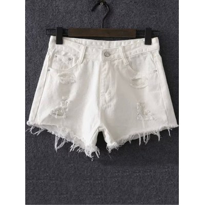 Stylish Solid Color Women's Ripped Shorts