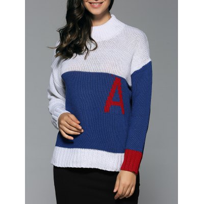 Mock Neck Initial A Sweater