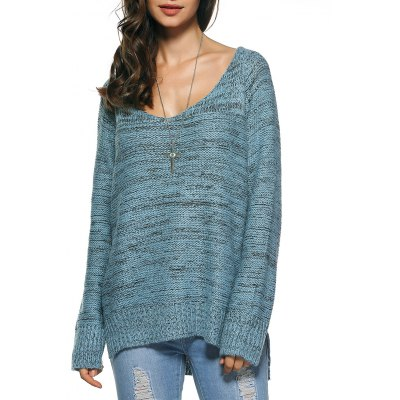 Long Sleeve Loose High Low Sweater