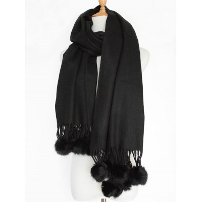 Small Fuzzy Ball Pendant Solid Shawl Scarf