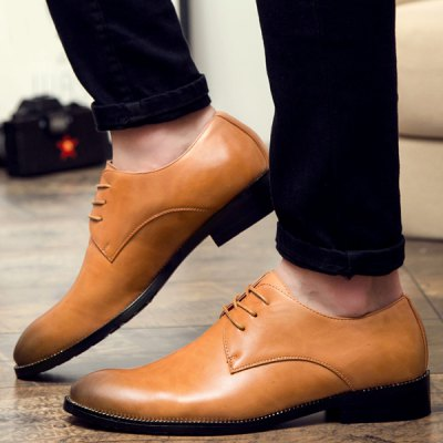 Stitching Lace Up Leather Casual Shoes