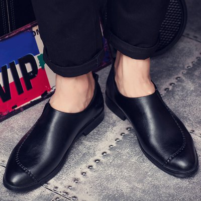PU Leather Stitching Pointed Toe Casual Shoes