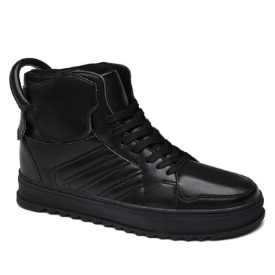 Tie Up High Top Leather Casual Shoes