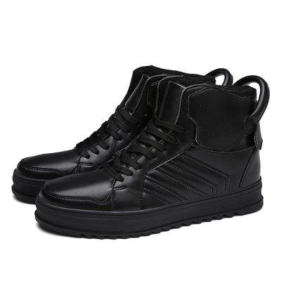 Lace Up High Top Leather Casual Shoes