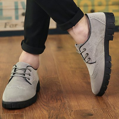 Suede Engraving Tie Up Casual Shoes