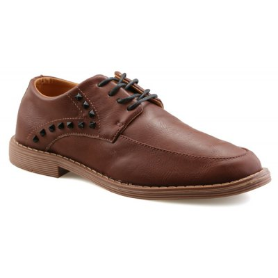 Stitching Lace Up Rivet Leather Casual Shoes