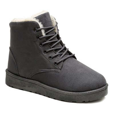 Flock Round Toe Lace-Up Snow Boots