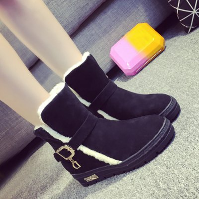 ФОТО Flock Buckle Increased Internal Snow Boots