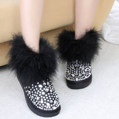 Faux Fur Rhinestones PU Leather Snow Boots