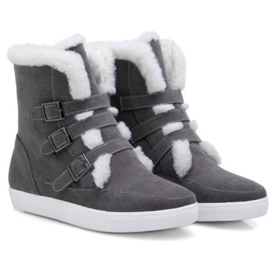 Woolen Buckle Snow Ankle Boots