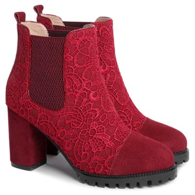Lace Splicing Ankle Boots