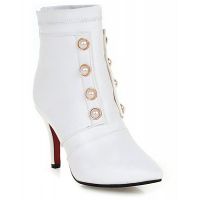 Pointed Toe Faux Pearls Zipper Short Boots