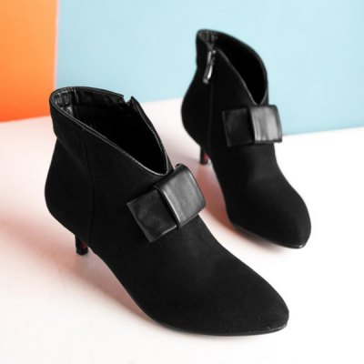 Suede Bowknot Zipper Ankle Boots