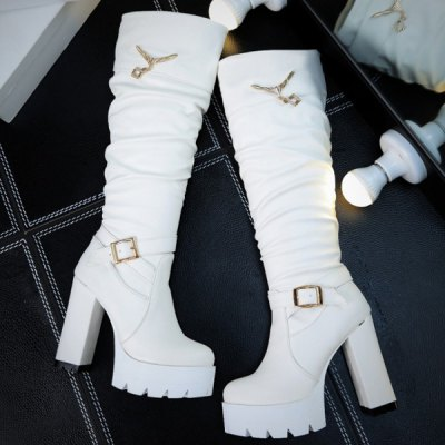 Buckle Strap Chunky Heel Knee High Boots