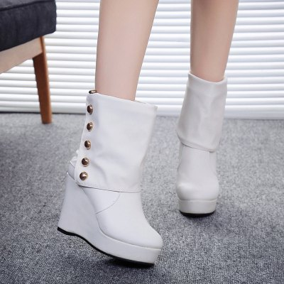 PU Leather Buttons Wedge Heel Short Boots
