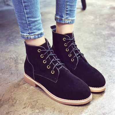 Suede Lace-Up Flat Heel Short Boots