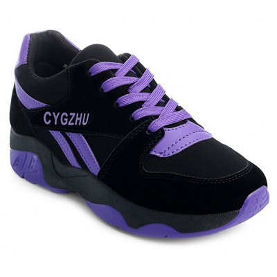 Tie Up Colour Block Splicing Athletic Shoes