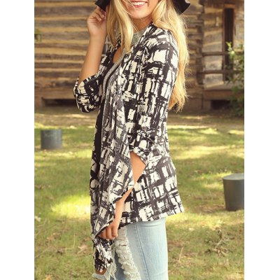 Open Front Printed Long Sleeve Blouse