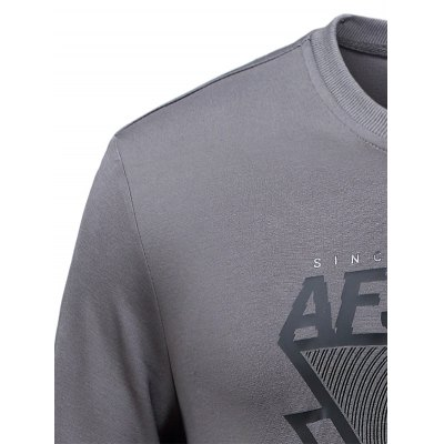 Letter and Geometric Printed Crew Neck SweatshirtPlus Size Tops<br>Letter and Geometric Printed Crew Neck Sweatshirt<br><br>Material: Cotton,Polyester<br>Sleeve Length: Full<br>Collar: Crew Neck<br>Style: Active<br>Pattern Type: Geometric<br>Season: Fall,Spring<br>Weight: 0.500kg<br>Package Contents: 1 x Sweatshirt