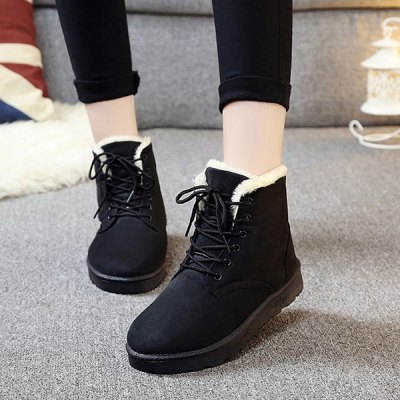 Fur Trim Lace Up Ankle Boots