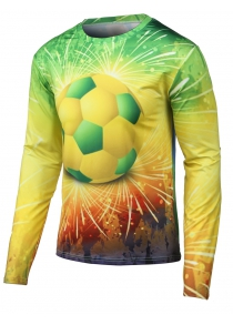 Round Neck Long Sleeves 3D Football Print T-Shirt