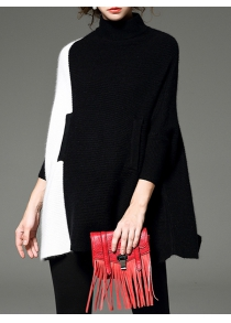 High Neck Poncho Sweater