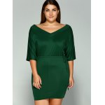cheap Plus Size Dolman Sleeve Drawstring Waist Bandage Mini Dress