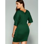 best Plus Size Dolman Sleeve Drawstring Waist Bandage Mini Dress