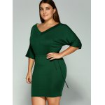 Plus Size Dolman Sleeve Drawstring Waist Bandage Mini Dress for sale