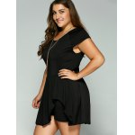 Plus Size Cape Sleeve Flounced Skirted Romper for sale