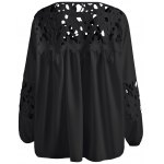 cheap Plus Size Lace Crochet Spliced Blouse