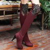 cheap Suede Embroidery Cone Heel Thigh Boots