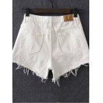 cheap Stylish Solid Color Women's Ripped Shorts