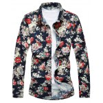 Floral Printed Turn-down Collar Long Sleeves Shirt