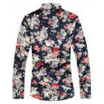 cheap Floral Printed Turn-down Collar Long Sleeves Shirt