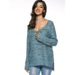 Long Sleeve Loose High Low Sweater deal
