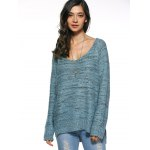 cheap Long Sleeve Loose High Low Sweater