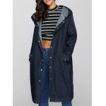 Fashion Hooded Big Pockets Loose Fitting Denim Long Coat For Women