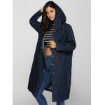 cheap Fashion Hooded Big Pockets Loose Fitting Denim Long Coat For Women