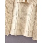 best Round Neck Long Sleeve High-Low Ombre Loose Sweater