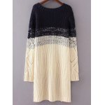 cheap Round Neck Long Sleeve High-Low Ombre Loose Sweater