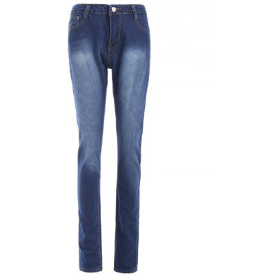 High Waist Bleach Wash Skinny Jeans