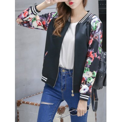 Floral Zip Up Short Jacket