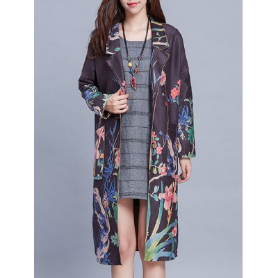 Lapel Neck Long Sleeve Vintage Floral Print Trench Coat