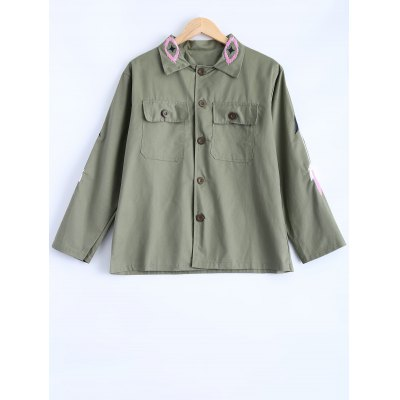 Turn-Down Collar Embroidered Utility Jacket