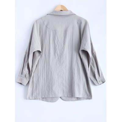 Rolled Sleeve Loose Fitting Lapel Blazer